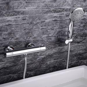 浴室シャワー水栓 壁付サーモスタット式混合栓 バス蛇口 ハンドシャワー 風呂用 クロム FTTB030