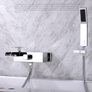 浴室シャワー水栓 バス蛇口 ハンドシャワー 混合栓 蛇口付き 風呂用 クロム FTTB032