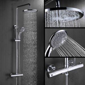 浴室シャワー水栓 レインシャワーシステム ヘッドシャワー+ハンドシャワー バス水栓 混合栓 サーモスタット付 FTTB042