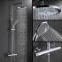 浴室シャワー水栓 レインシャワーシステム ヘッドシャワー+ハンドシャワー バス水栓 混合栓 サーモスタット付 クロム FTTB042