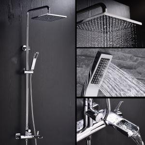 浴室シャワー水栓 レインシャワーシステム シャワーバー ヘッドシャワー+ハンドシャワー+蛇口 バス水栓 FTTB043