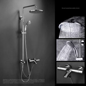 浴室シャワー水栓 レインシャワーシステム シャワーバー ヘッドシャワー+ハンドシャワー+蛇口 バス水栓 混合栓 サーモスタット付 FTTB045