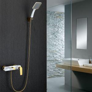 浴室シャワー水栓 バス蛇口 ハンドシャワー 水栓金具 混合栓 風呂用 金色&白色 PVD043