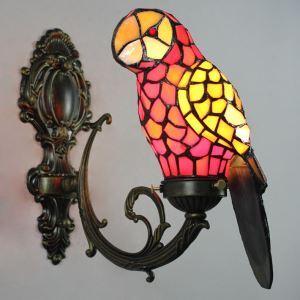 ティファニーライト 壁掛け照明 ステンドグラスランプ 玄関照明 ブラケット オウム型 1灯