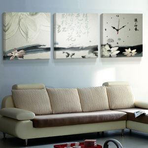 壁掛け時計 絵画時計 アート時計 静音 オシャレ 3枚パネル 「蓮・印象」