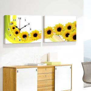 壁掛け時計 壁絵画時計 アート時計 静音 オシャレ 2枚パネル ひまわり