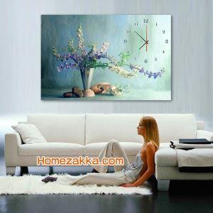 壁掛け時計 絵画時計 アート時計 静音 オシャレ 1枚パネル 抽象草花