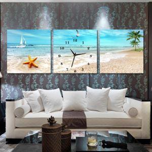 壁掛け時計 絵画時計 アート時計 静音 オシャレ 3枚パネル 砂州