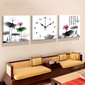 壁掛け時計 絵画時計 アート時計 静音 オシャレ 3枚パネル 「送春」