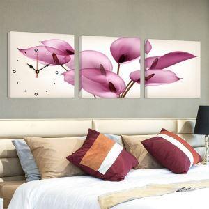 壁掛け時計 壁絵画時計 アート時計 静音 オシャレ 3枚パネル 芸術花満開