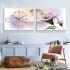 壁掛け時計 絵画時計 アート時計 静音 オシャレ 2枚パネル 紫色 百合