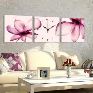 壁掛け時計 壁絵画時計 アート時計 静音 オシャレ 3枚パネル 芸術蓮花