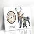 壁掛け時計 絵画時計 アート時計 静音 オシャレ 1枚パネル 鹿家族
