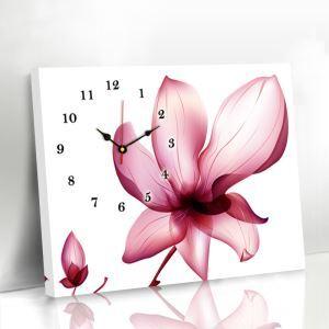 壁掛け時計 壁絵画時計 アート時計 静音 オシャレ 1枚パネル 赤色蓮花