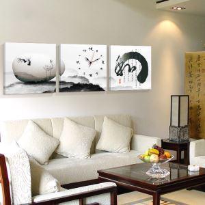 壁掛け時計 絵画時計 アート時計 静音 オシャレ 3枚パネル 「和」