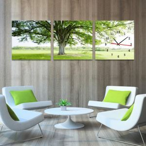 壁掛け時計 静音時計 壁絵画時計 アート時計 壁飾り 3枚パネル 木柄