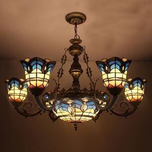 シャンデリア ステンドグラスランプ リビング照明 ダイニング照明 店舗照明 8灯 BEH3593
