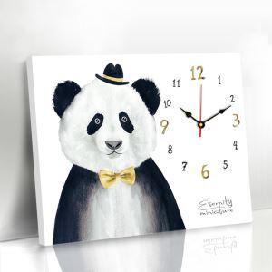 壁掛け時計 壁絵画時計 アート時計 静音 オシャレ 1枚パネル パンダ