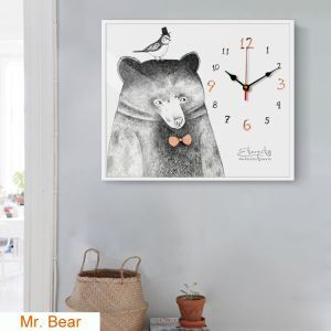 壁掛け時計 壁絵画時計 アート時計 静音 オシャレ 1枚パネル 熊