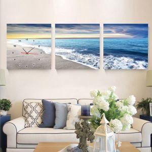 壁掛け時計 壁絵画時計 アート時計 静音時計 オシャレ 3枚パネル 大海