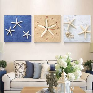 壁掛け時計 壁絵画時計 静音時計 キャンバス時計 壁飾り オシャレ 3枚パネル A/B/C/D