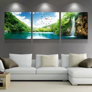 壁掛け時計 壁絵画時計 アート時計 静音 オシャレ 3枚パネル 滝
