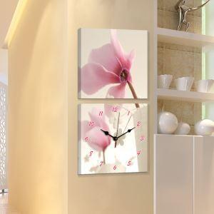 壁掛け時計 壁絵画時計 アート時計 静音 オシャレ 2枚パネル 花柄