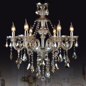 シャンデリア クリスタル リビング照明 寝室照明 店舗照明 オシャレ 6灯 LED電球対応