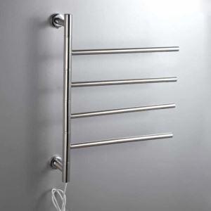 壁掛けタオルウォーマー タオルヒーター タオルハンガー+簡易乾燥 ステンレス鋼 180°回転 40W