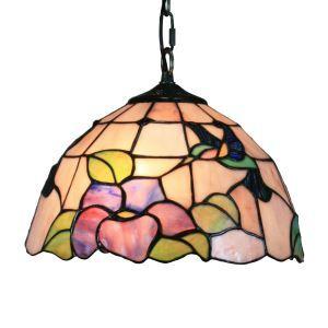 ペンダントライト ステンドグラスランプ ティファニーライト 照明器具 ダイニング照明 花柄 D30cm LTPL095