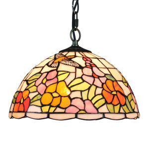 ペンダントライト ステンドグラスランプ ティファニーライト 照明器具 ダイニング照明 花&鳥 D30cm LTPL106