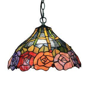 ペンダントライト ステンドグラスランプ ティファニーライト 照明器具 ダイニング照明 多彩の花 D30cm LTPL114