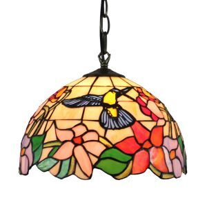 ペンダントライト ステンドグラスランプ ティファニーライト 照明器具 ダイニング照明 ハチドリ&花 D30cm LTPL127