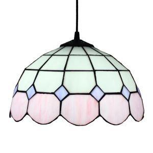 ペンダントライト ステンドグラスランプ ティファニーライト 照明器具 ダイニング照明 ペンク&白 D30cm LTPL129