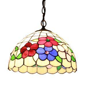 ペンダントライト ステンドグラスランプ ティファニーライト 照明器具 ダイニング照明 花柄 D30cm LTPL132