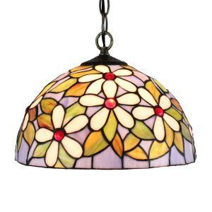 ペンダントライト ステンドグラスランプ ティファニーライト 照明器具 ダイニング照明 白い花 D30cm LTPL148