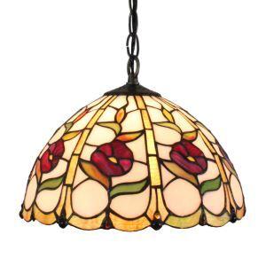 ペンダントライト ステンドグラスランプ ティファニーライト 照明器具 ダイニング照明 小花柄 D30cm LTPL162