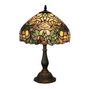 テーブルランプ ティファニーライト ステンドグラスランプ 卓上照明 植物柄 D30cm LTTL059