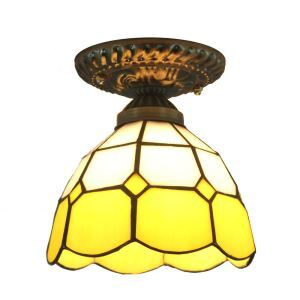 シーリングライト ティファニーライト ステンドグラス照明 玄関照明 黄色 D20cm LTFM009