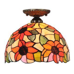 シーリングライト ステンドグラス照明 玄関照明 ひまわり柄 D30cm LTFM016