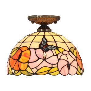 シーリングライト ステンドグラス照明 玄関照明 蝶&花 D30cm LTFM017