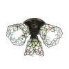 シーリングライト ステンドグラス照明 玄関照明 3灯 花型 D30cm LTFM022