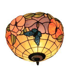 シーリングライト ステンドグラス照明 玄関照明 蝶&花 D30cm LTFM032