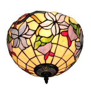 シーリングライト ステンドグラス照明 玄関照明 花柄 D30cm LTFM037