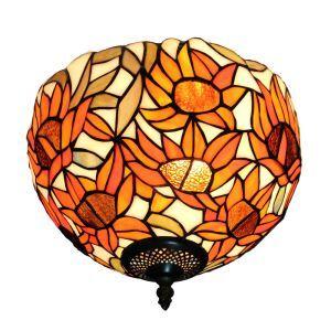 シーリングライト ステンドグラス照明 玄関照明 ひまわり D30cm LTFM043