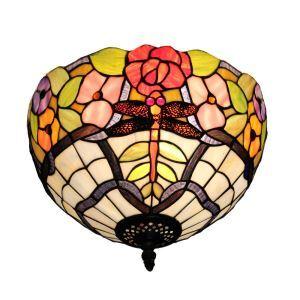 シーリングライト ステンドグラス照明 玄関照明 トンボ D30cm LTFM044
