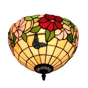 シーリングライト ステンドグラス照明 玄関照明 蝶 D30cm LTFM045