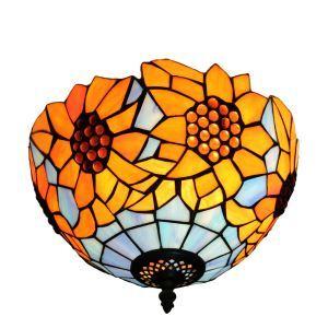 シーリングライト ステンドグラス照明 玄関照明 ひまわり D30cm LTFM046