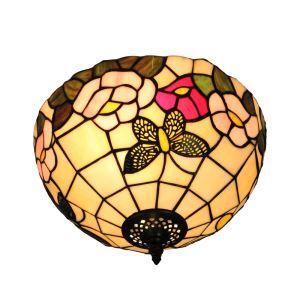 シーリングライト ステンドグラス照明 玄関照明 蝶&花 D30cm LTFM056