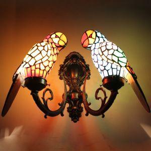 ティファニーライト 壁掛け照明 ステンドグラスランプ 玄関照明 ブラケット オウム型 2灯